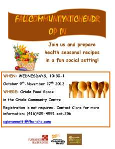 FALL COMMUNITY KITCHEN Drop in flyer fall 2013