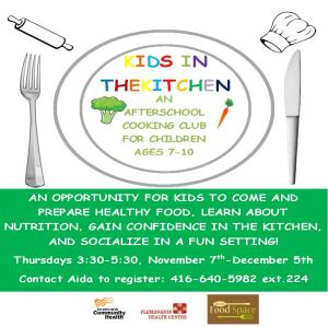 Fall Kids Kitchen Program flyer 2013